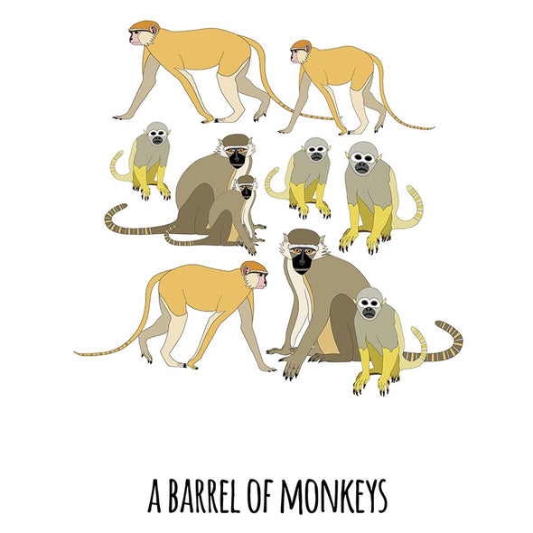 A Barrel of Monkeys Art Print