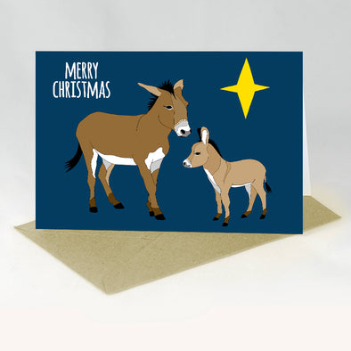 Donkey Christmas Card - Red Parka