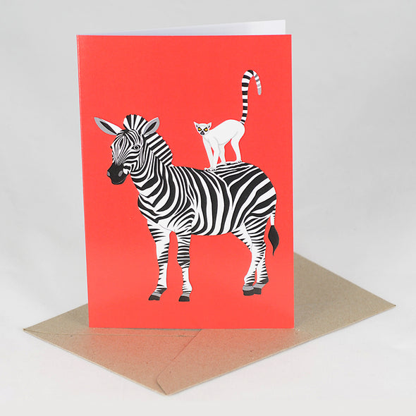 Lemur and Zebra Card - Red Parka
