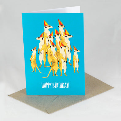 Meerkat Birthday Card - Red Parka