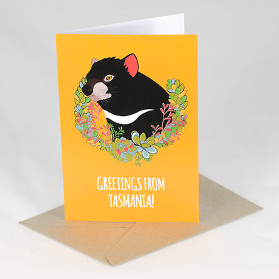 Greetings from Tasmania Card - Red Parka