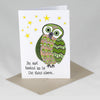 Owl Looked Up To The Stars Card - Red Parka