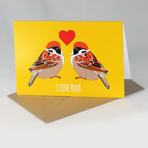 I Love You Sparrows Card - Red Parka