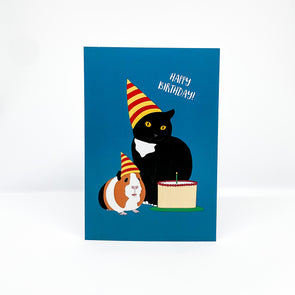 Happy Birthday Cat - Red Parka Card