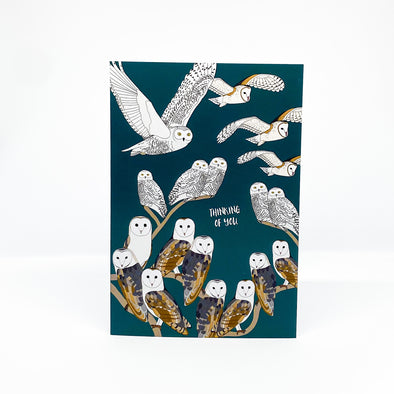 Owls Thinking of You - Red Parka Card
