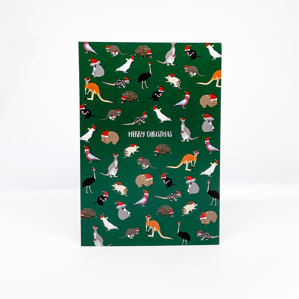 Aussie Animals Christmas  - Red Parka Card