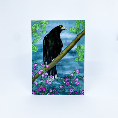 Pink Mountain Berries Currawong - TJ Finch Card