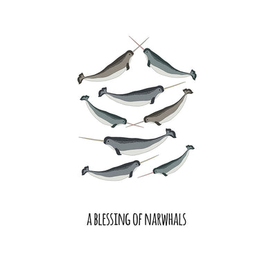 A Blessing of Narwhals Art Print