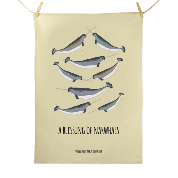 Blessing of Narwhals Tea Towel