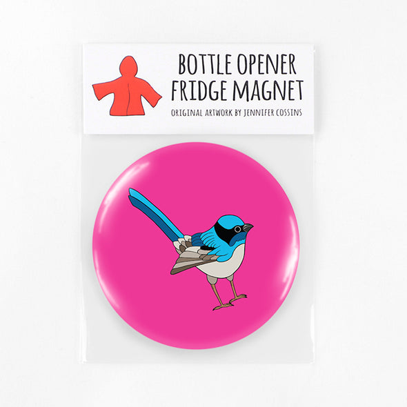 Bottle Opener Magnet - Blue Wren