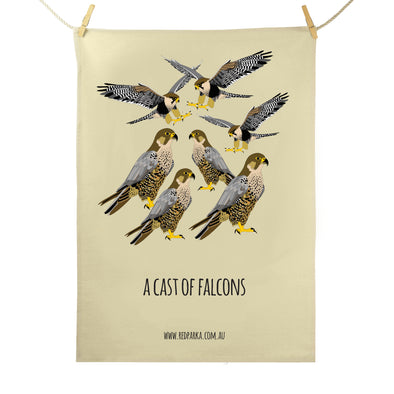 Cast of Falcons Tea Towel