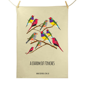 Charm of Finches Tea Towel