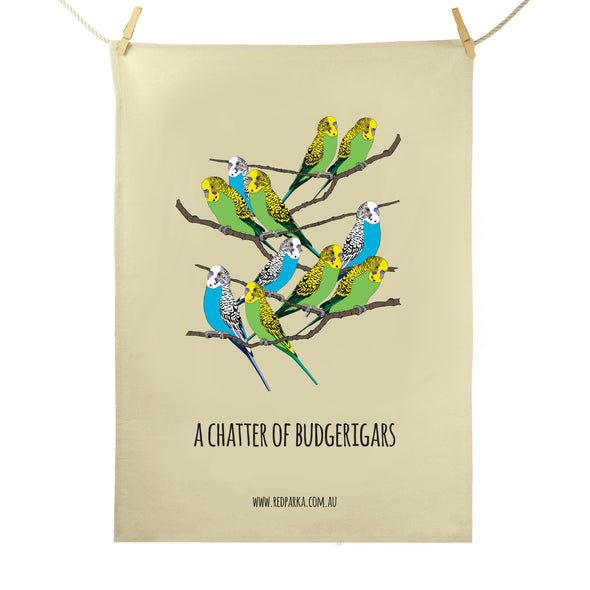 Chatter of Budgerigars Tea Towel