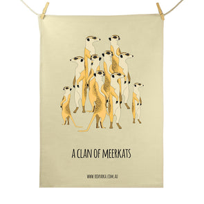 Clan of Meerkats Tea Towel