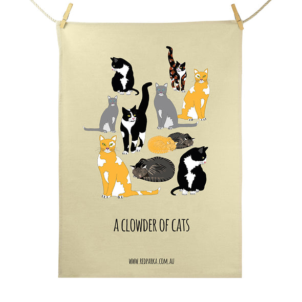Tea Towel - Clowder of Cats