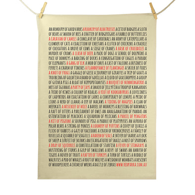 Collective Nouns Tea Towel