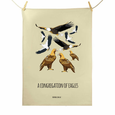 Congregation of Eagles Tea Towel