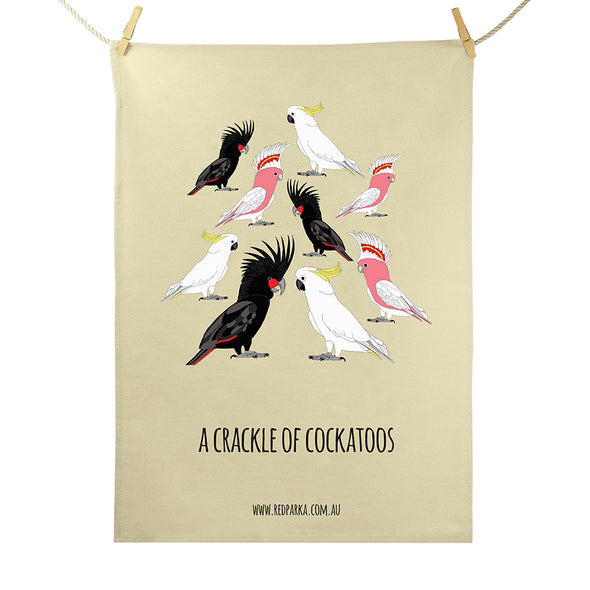 Crackle of Cockatoos Tea Towel