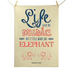 Tea Towel - Music Elephant