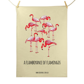 Tea Towel - Flamboyance of Flamingos