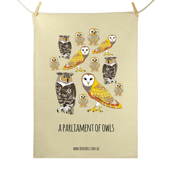 Tea Towel - Parliament of Owls