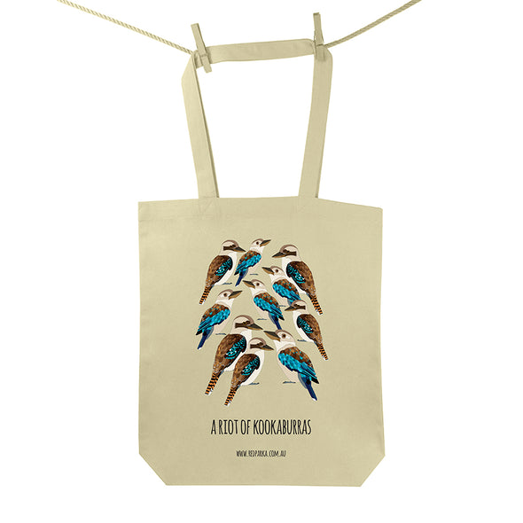 Riot of Kookaburras Tote Bag