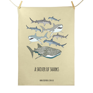 Shiver of Sharks Tea Towel