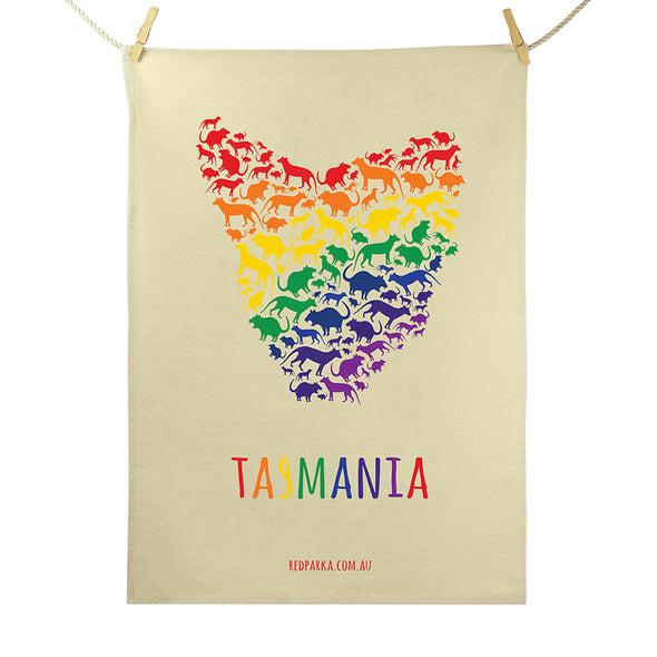 Map of Tassie Rainbow Tea Towel