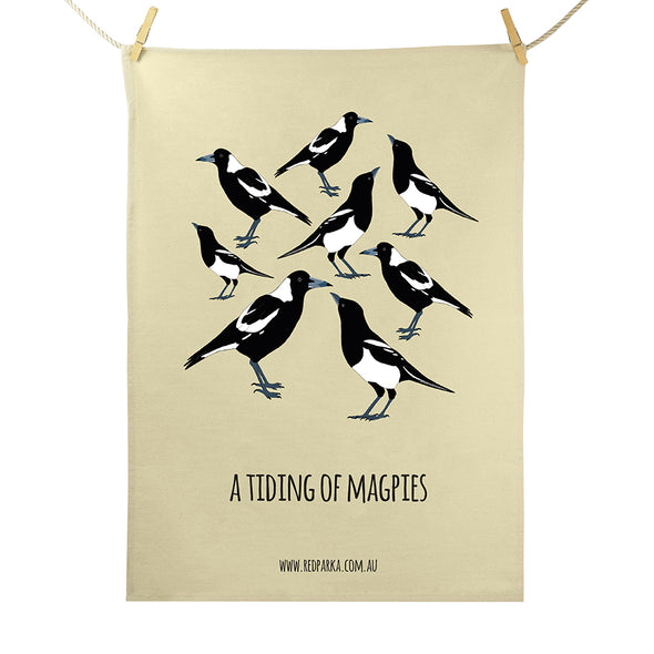 Tiding of Magpies Tea Towel
