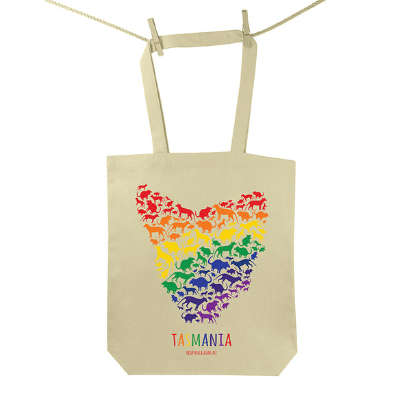 Map of Tassie Rainbow Tote Bag