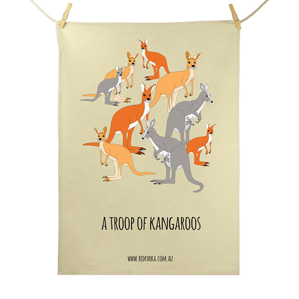 Troop of Kangaroos Tea Towel