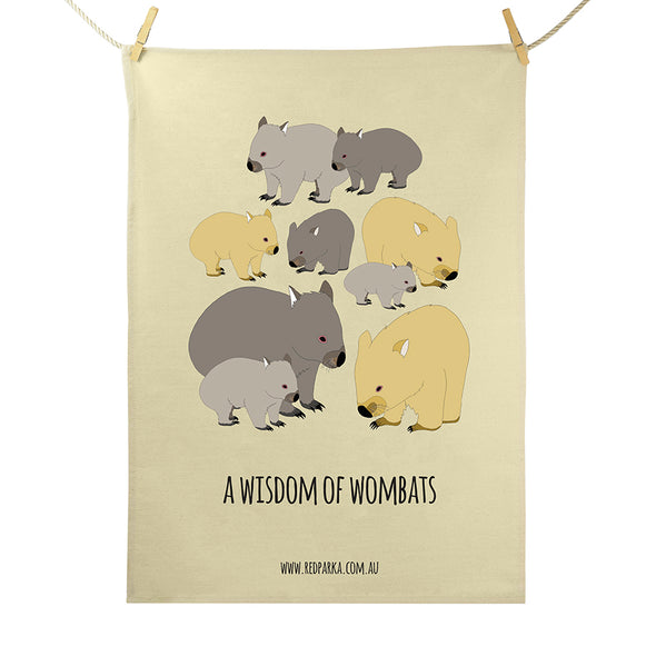 Wisdom of Wombats Tea Towel
