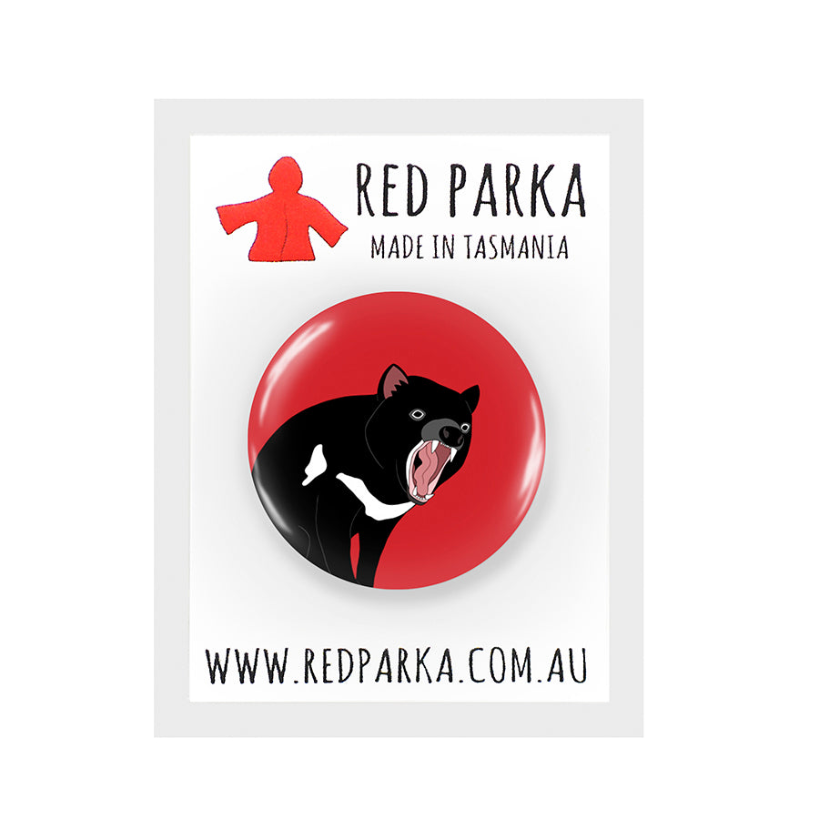 RP - Tassie Devil Mouth Open Badge - 25mm RED