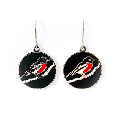 Scarlet Robin enamel earrings (TJF)
