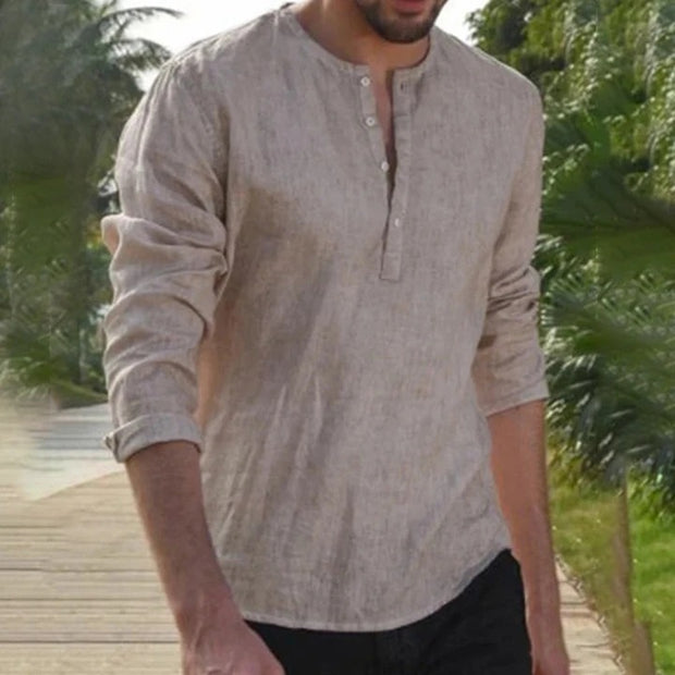 Round Neck Pullover Long Sleeve Solid Color Shirt