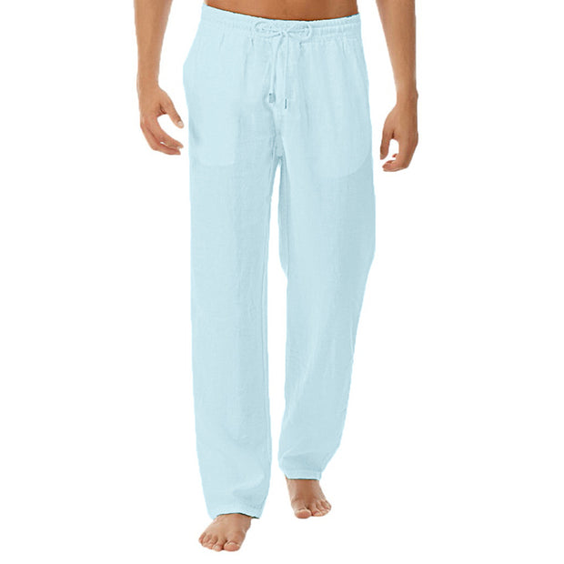 Men's Simple Solid Color Cotton And Linen Trousers