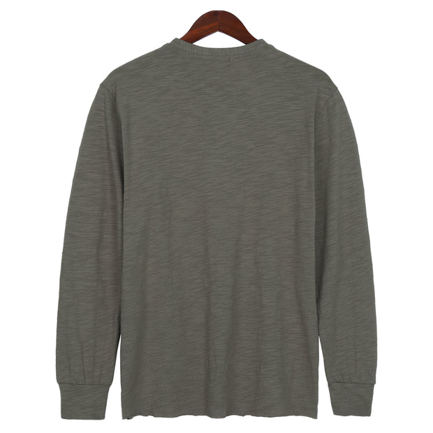 Solid Color Casual Men's Cotton And Linen Tops