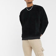 Long Sleeve Solid Color Casual Men's Plush Hoodie