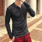 Retro V-neck Casual Long-sleeved T-shirt