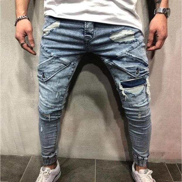 Men's Zippered Hole Beam Jeans