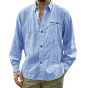 Solid Color Long Sleeve Linen Shirt