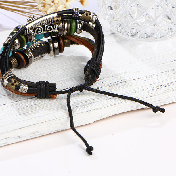 Beaded Multi-layer Cowhide Bracelet