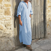 New Men'S Long Cotton And Linen Shirt