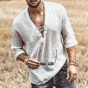 Men's Chest Lace Up Sleeve Shirt