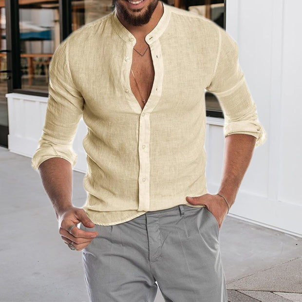 Round Neck Solid Color Men's Long Sleeve Shirt