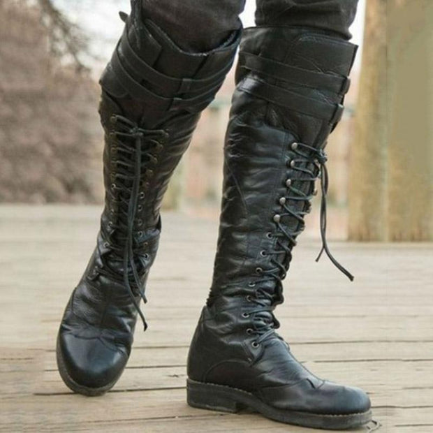 Rivet Lacing Knight Boots
