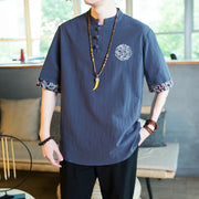 Casual Slim-fit Embroidery Short-sleeved Shirt