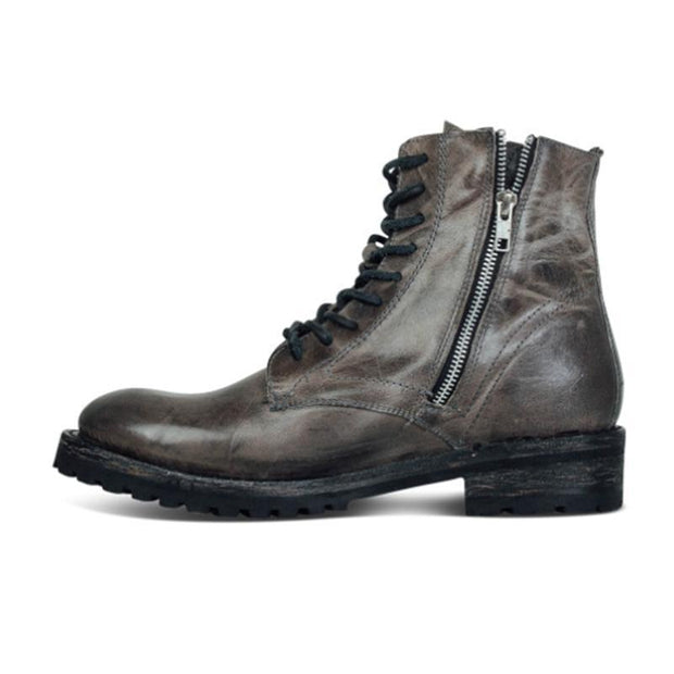 Men's Boots With Low Square Heels And Lace-up Heels