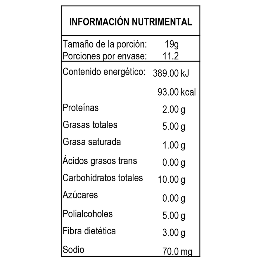 información nutrimental harina keto para galletas doble chocolate baja en carbohidratos