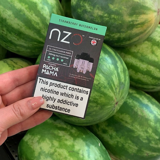 nzo pod refills in front of watermelons